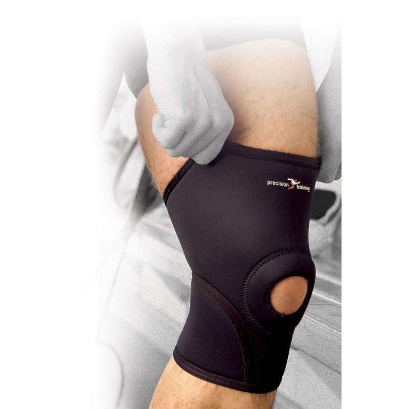 Støttebind til knæ i neopren eller elastik.